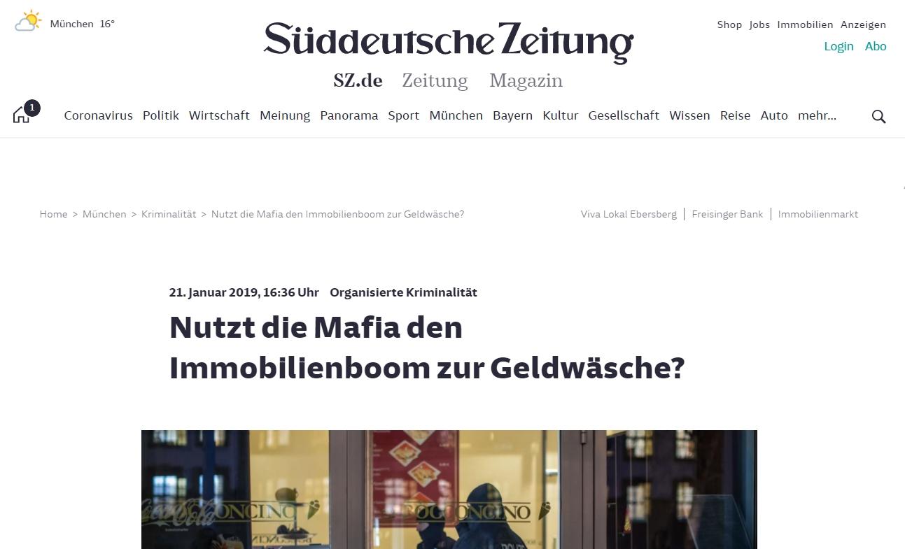 Screenshot: mafianeindanke in der Süddeutschen Zeitung